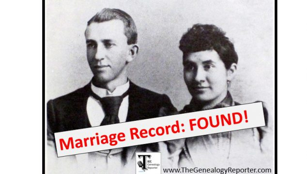 The Elusive Marriage Record: FOUND!