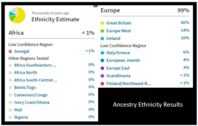 here is a quick look at an ancestry dna ethnicity result for one of my family members