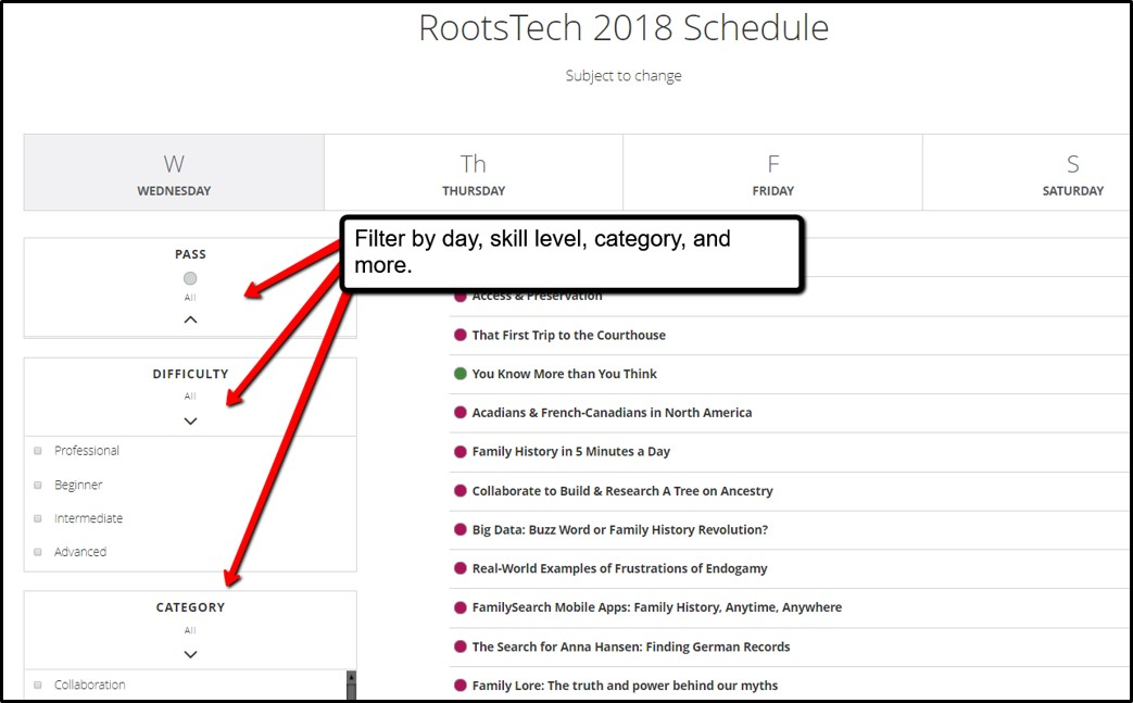 RootsTech 2018 class schedule filters
