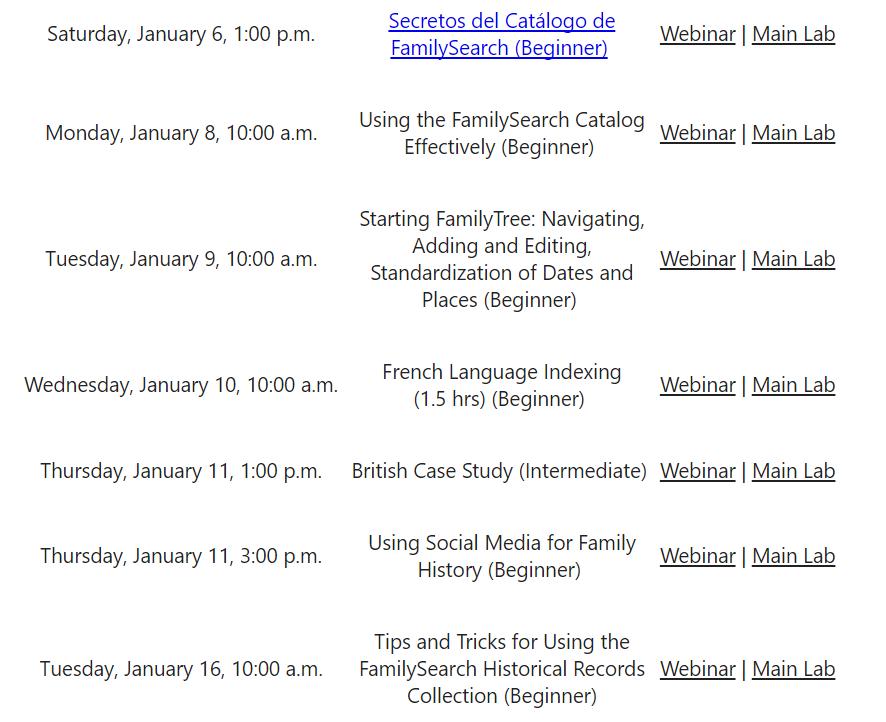 free genealogy webinars from Family History Library