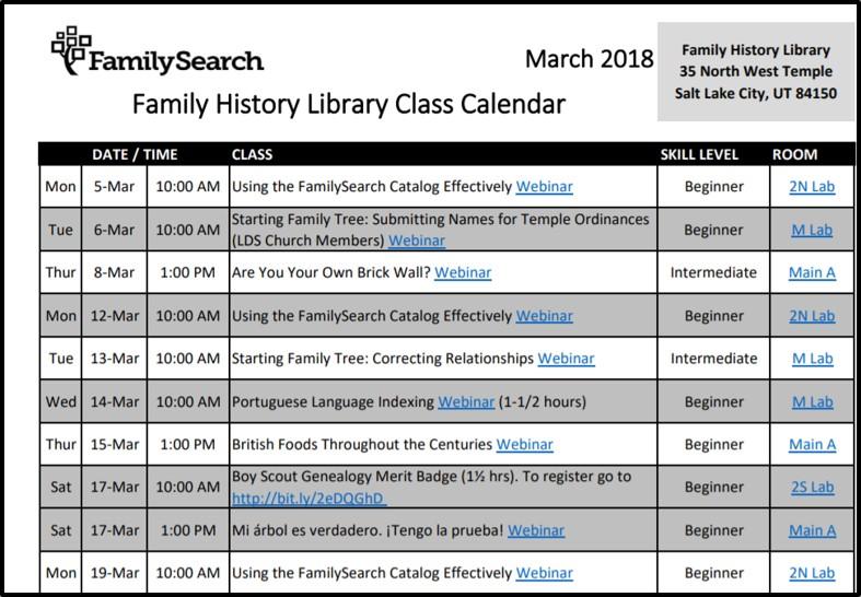Family History Center Genealogy Webinars