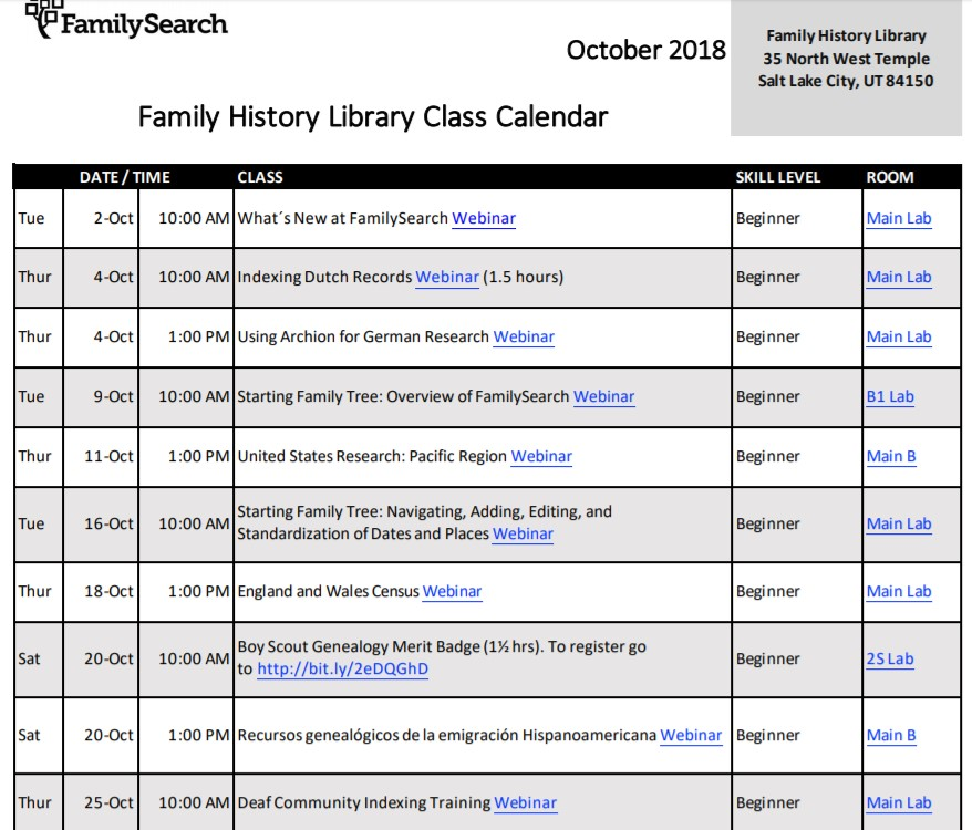 free genealogy webinars from Family History Library
