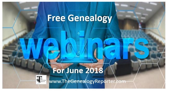 free genealogy webinars for June