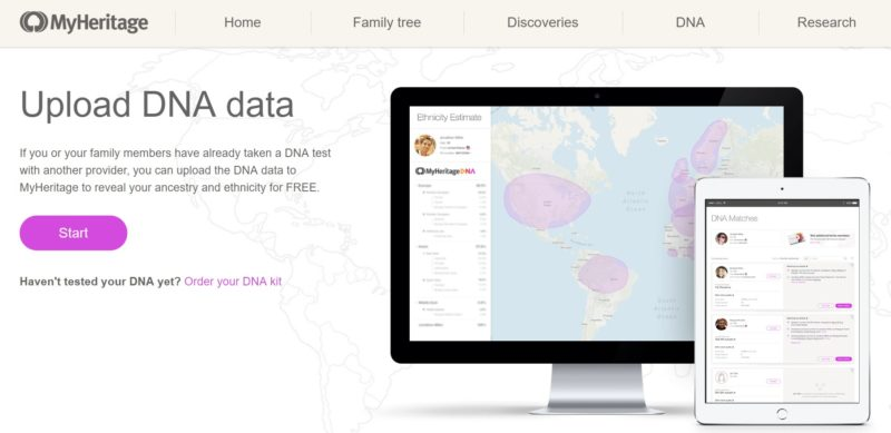 upload DNA to MyHeritage
